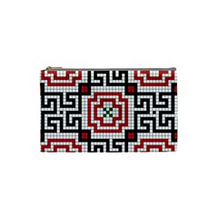 Vintage Style Seamless Black White And Red Tile Pattern Wallpaper Background Cosmetic Bag (small)  by Simbadda