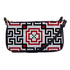 Vintage Style Seamless Black White And Red Tile Pattern Wallpaper Background Shoulder Clutch Bags by Simbadda
