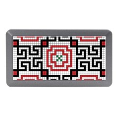 Vintage Style Seamless Black White And Red Tile Pattern Wallpaper Background Memory Card Reader (mini) by Simbadda