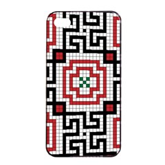 Vintage Style Seamless Black White And Red Tile Pattern Wallpaper Background Apple Iphone 4/4s Seamless Case (black) by Simbadda