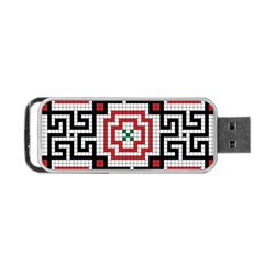 Vintage Style Seamless Black White And Red Tile Pattern Wallpaper Background Portable Usb Flash (two Sides) by Simbadda