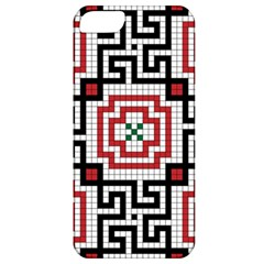 Vintage Style Seamless Black White And Red Tile Pattern Wallpaper Background Apple Iphone 5 Classic Hardshell Case by Simbadda