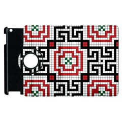 Vintage Style Seamless Black White And Red Tile Pattern Wallpaper Background Apple Ipad 3/4 Flip 360 Case by Simbadda