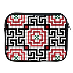 Vintage Style Seamless Black White And Red Tile Pattern Wallpaper Background Apple Ipad 2/3/4 Zipper Cases by Simbadda