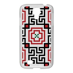 Vintage Style Seamless Black White And Red Tile Pattern Wallpaper Background Samsung Galaxy S4 I9500/ I9505 Case (white) by Simbadda