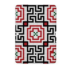 Vintage Style Seamless Black White And Red Tile Pattern Wallpaper Background Samsung Galaxy Tab 2 (10 1 ) P5100 Hardshell Case  by Simbadda
