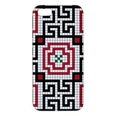 Vintage Style Seamless Black White And Red Tile Pattern Wallpaper Background Iphone 5s/ Se Premium Hardshell Case by Simbadda
