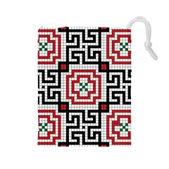 Vintage Style Seamless Black White And Red Tile Pattern Wallpaper Background Drawstring Pouches (large)  by Simbadda
