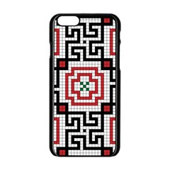 Vintage Style Seamless Black White And Red Tile Pattern Wallpaper Background Apple Iphone 6/6s Black Enamel Case by Simbadda