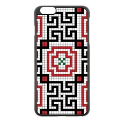Vintage Style Seamless Black White And Red Tile Pattern Wallpaper Background Apple Iphone 6 Plus/6s Plus Black Enamel Case by Simbadda