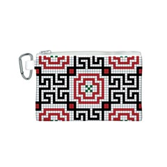 Vintage Style Seamless Black White And Red Tile Pattern Wallpaper Background Canvas Cosmetic Bag (s) by Simbadda