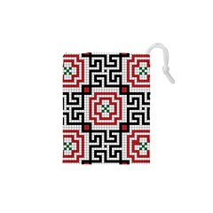Vintage Style Seamless Black White And Red Tile Pattern Wallpaper Background Drawstring Pouches (xs)  by Simbadda