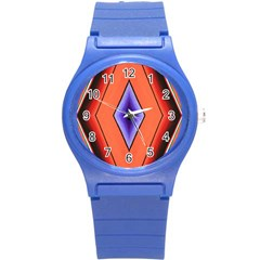 Diamond Shape Lines & Pattern Round Plastic Sport Watch (s) by Simbadda
