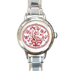 Red Vintage Floral Flowers Decorative Pattern Round Italian Charm Watch by Simbadda
