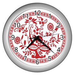 Red Vintage Floral Flowers Decorative Pattern Wall Clocks (silver)  by Simbadda