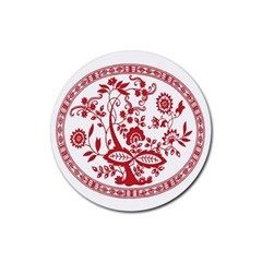 Red Vintage Floral Flowers Decorative Pattern Rubber Coaster (round)  by Simbadda