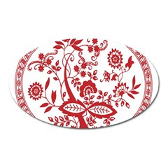 Red Vintage Floral Flowers Decorative Pattern Oval Magnet by Simbadda
