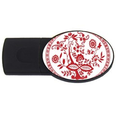 Red Vintage Floral Flowers Decorative Pattern Usb Flash Drive Oval (4 Gb) by Simbadda