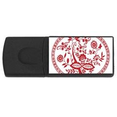 Red Vintage Floral Flowers Decorative Pattern Usb Flash Drive Rectangular (4 Gb) by Simbadda