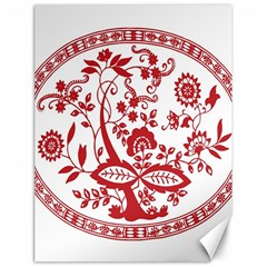 Red Vintage Floral Flowers Decorative Pattern Canvas 18  X 24   by Simbadda