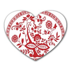 Red Vintage Floral Flowers Decorative Pattern Heart Mousepads by Simbadda