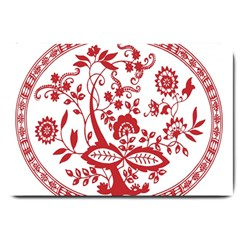 Red Vintage Floral Flowers Decorative Pattern Large Doormat  by Simbadda