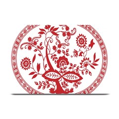 Red Vintage Floral Flowers Decorative Pattern Plate Mats by Simbadda