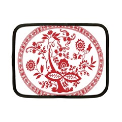 Red Vintage Floral Flowers Decorative Pattern Netbook Case (small)
