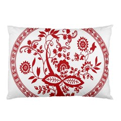 Red Vintage Floral Flowers Decorative Pattern Pillow Case by Simbadda