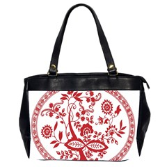 Red Vintage Floral Flowers Decorative Pattern Office Handbags (2 Sides)  by Simbadda