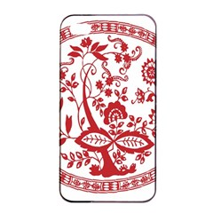 Red Vintage Floral Flowers Decorative Pattern Apple Iphone 4/4s Seamless Case (black) by Simbadda