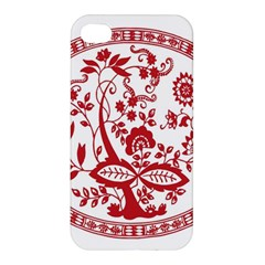 Red Vintage Floral Flowers Decorative Pattern Apple Iphone 4/4s Premium Hardshell Case by Simbadda