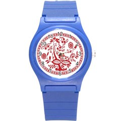 Red Vintage Floral Flowers Decorative Pattern Round Plastic Sport Watch (s) by Simbadda