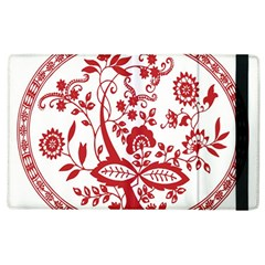 Red Vintage Floral Flowers Decorative Pattern Apple iPad 3/4 Flip Case by Simbadda
