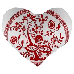 Red Vintage Floral Flowers Decorative Pattern Large 19  Premium Heart Shape Cushions by Simbadda