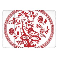 Red Vintage Floral Flowers Decorative Pattern Samsung Galaxy Tab 8 9  P7300 Flip Case by Simbadda