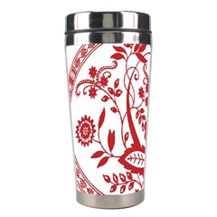 Red Vintage Floral Flowers Decorative Pattern Stainless Steel Travel Tumblers by Simbadda