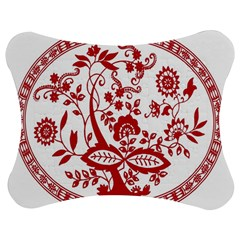 Red Vintage Floral Flowers Decorative Pattern Jigsaw Puzzle Photo Stand (bow) by Simbadda