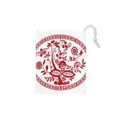 Red Vintage Floral Flowers Decorative Pattern Drawstring Pouches (xs)  by Simbadda