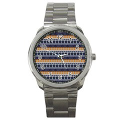 Abstract Elegant Background Pattern Sport Metal Watch by Simbadda