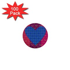 Butterfly Heart Pattern 1  Mini Buttons (100 Pack)  by Simbadda