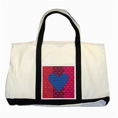 Butterfly Heart Pattern Two Tone Tote Bag by Simbadda