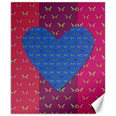 Butterfly Heart Pattern Canvas 8  X 10  by Simbadda