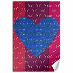 Butterfly Heart Pattern Canvas 20  X 30   by Simbadda