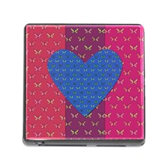 Butterfly Heart Pattern Memory Card Reader (square) by Simbadda