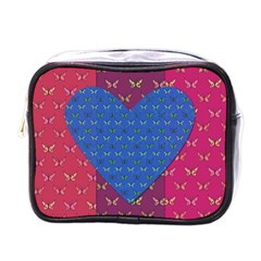 Butterfly Heart Pattern Mini Toiletries Bags by Simbadda