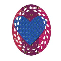 Butterfly Heart Pattern Ornament (oval Filigree) by Simbadda