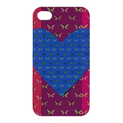 Butterfly Heart Pattern Apple Iphone 4/4s Hardshell Case by Simbadda