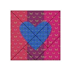 Butterfly Heart Pattern Acrylic Tangram Puzzle (4  X 4 ) by Simbadda