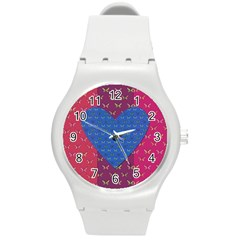 Butterfly Heart Pattern Round Plastic Sport Watch (m) by Simbadda